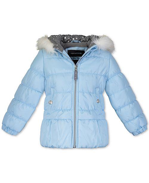 Weathertamer Toddler Girls Hooded Puffer Jacket With Faux-Fur Trim & Hat