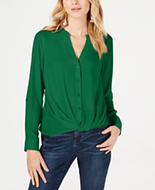 I.N.C. Petite Twist-Front Button-Up Top, Created for Macy's