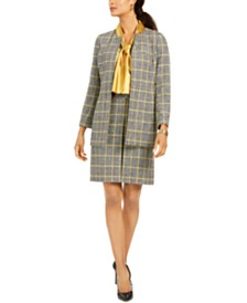 Kasper Plaid Jacket, Blouse, Skirt