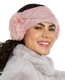I.N.C. Cable-Knit Headwrap With Faux Fur, Created for Macy's
