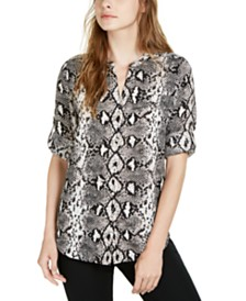 Calvin Klein Geo-Print Roll-Tab Button-Up Top