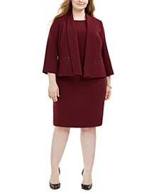 Plus Size Crepe Flyaway Jacket & Sheath Dress