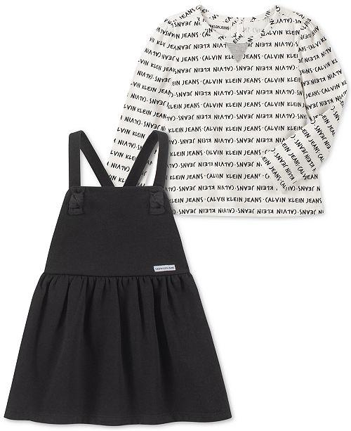 Calvin Klein Little Girls 2-Pc. Printed Top & Fleece Jumper Set