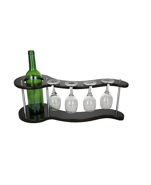 Three Star Curvy Bottle and Glasses Holder