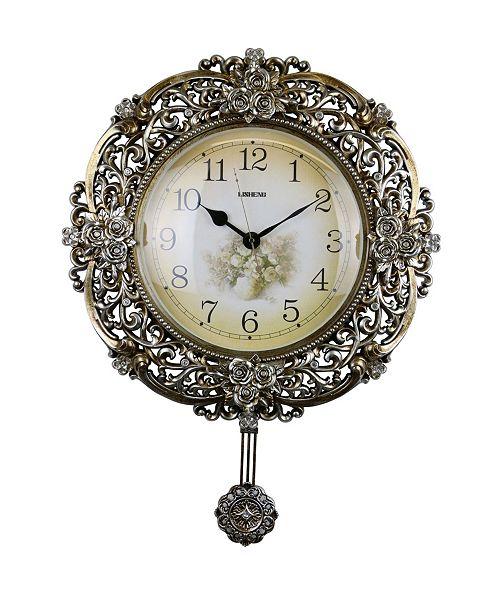 Three Star Floral Round Wall Clock