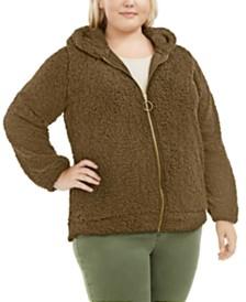 Planet Gold Trendy Plus Size Hooded Fleece Jacket