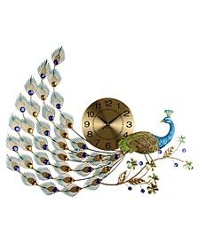 Glorious Peacock Wall Clock