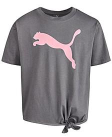 Big Girls Logo-Print Tie-Hem T-Shirt