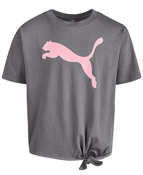 Puma North America Puma Big Girls Logo-Print Tie-Hem T-Shirt