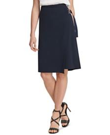 DKNY Asymmetrical Faux-Wrap Skirt