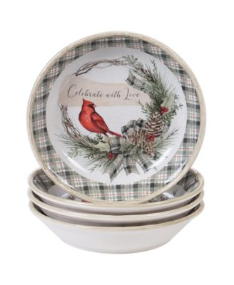 Holly and Ivy 4-Pc. Soup/Pasta Bowl