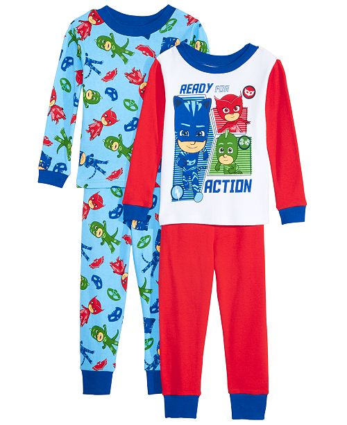 AME Toddler Boys 4-Pc. Cotton PJ Masks Pajamas Set