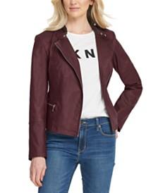 DKNY Asymmetrical-Zip Moto Jacket