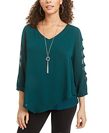 BCX Juniors' Lattice Sleeve Popover Top with Necklace
