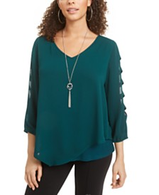 BCX Juniors' Split-Sleeve Popover Top with Necklace