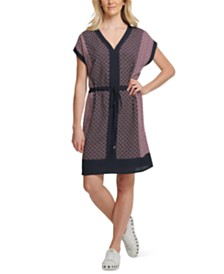 DKNY V-Neck Cap-Sleeve Dress