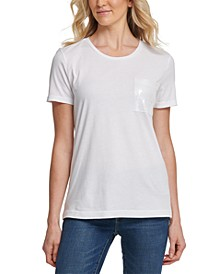 Sequin-Trim Crewneck T-Shirt