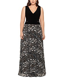 Plus Size Snake-Print Gown