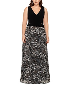 XSCAPE Plus Size Snake-Print Gown