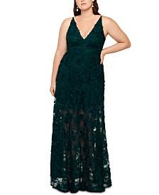XSCAPE Plus Size Floral Gown