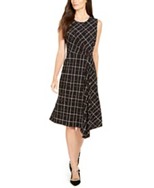 Alfani Asymmetrical Plaid Dress, Created for Macy's