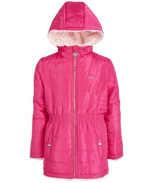 DKNY Little Girls Reversible Hooded Faux-Fur Jacket