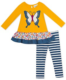 Rare Editions Baby Girls 2-Pc. Butterfly Tunic and Striped Leggings Set
