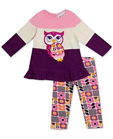 Rare Editions Baby Girls 2-Pc. Colorblocked Owl Tunic & Printed Leggings Set
