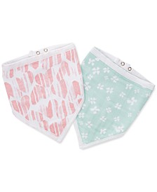 Baby Girls 2-Pk. Cotton Printed Bandana Bibs