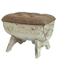 Vintage-like Wooden Wine Barrel Storage Bench