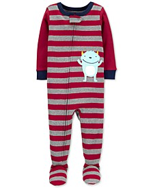 Toddler Boys Cotton Footed Monster Pajamas