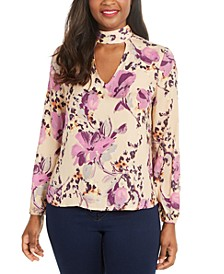 Printed Mock-Neck Cutout Top, Created for Macy's