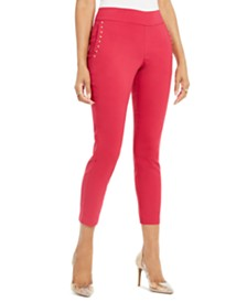 Thalia Sodi Embellished Skinny Cropped Trousers, Created for Macy's