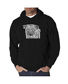 Men's Word Art Hooded Sweatshirt - Pug Face