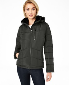 Calvin Klein Faux-Fur-Lined Hooded Puffer Coat, Created For Macy's