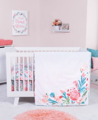 Painterly Floral 3-Piece Crib Bedding Set