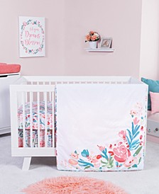 Painterly Floral 3-Piece Crib Bedding Set