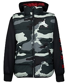 Jordan Big Boys Layered-Look Hooded Puffer Jacket, Created For Macy's