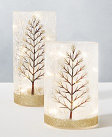 Holiday Tree LED Hurricanes, Set of 2