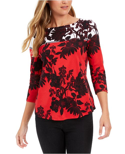 Charter Club Pima Cotton Printed Colorblocked Top, Created for Macy's