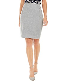 Zip-Pocket Pencil Skirt
