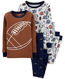 Little & Big Boys 4-Pc. Cotton Football Pajamas Set