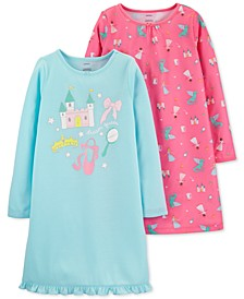 Little & Big Girls 2-Pk. Princess Nightgowns