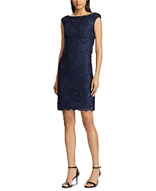 Lauren Ralph Lauren Scalloped Lace Dress, Created For Macy's