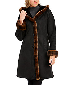 Jones New York Faux-Shearling Trim Hooded Coat