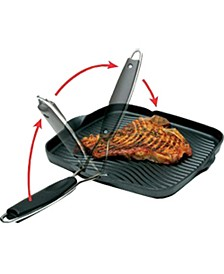 "Grill Pan with Foldable Handle, 10"" x 10"""