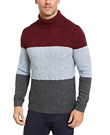 Men's Chunky Cable-Knit Colorblocked Turtleneck Sweater, Created For Macy's