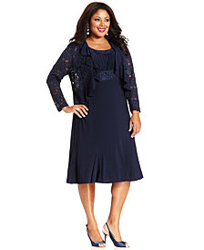 R&M Richards Plus Size Sleeveless Embroidered Dress and Jacket