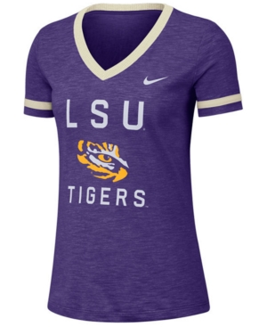 Nike Women's Lsu Tigers Slub Fan V-Neck T-Shirt