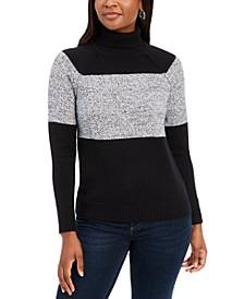 Petite Colorblock Cotton Turtleneck Sweater, Created for Macy's